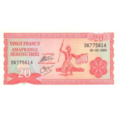 Burundi 20 Francs 2005 P-27d