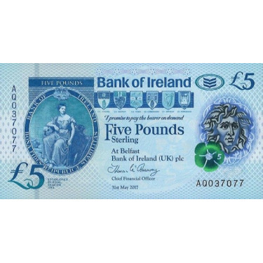 Nordirland 5 Pounds Bank of...