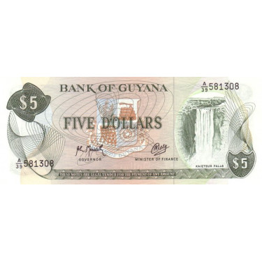 Guyana 5 Dollars P-22f2 ND...