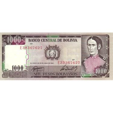 Bolivia 1000 Pesos 1982...