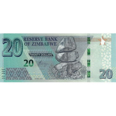 Zimbabwe 20 Dollars 2020 P-new