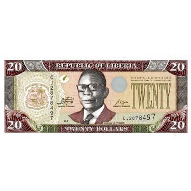 Liberia 20 Dollars 2011 P-28g