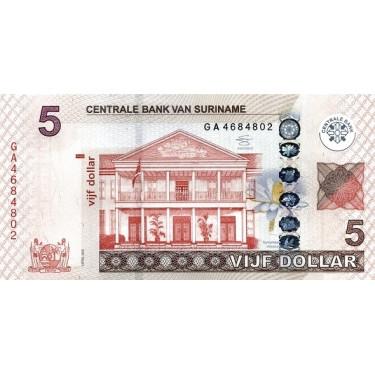Suriname 5 Dollars 2012 P-162b