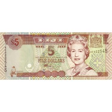 Fiji 5 Dollars ND 2002 P-105b