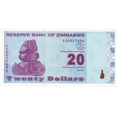 Zimbabwe 20 dollars 2009 P-95