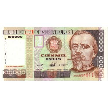 Peru 100 000 Intis 1989 P-145