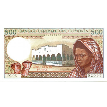 Komorerna 500 Francs ND P-10b3