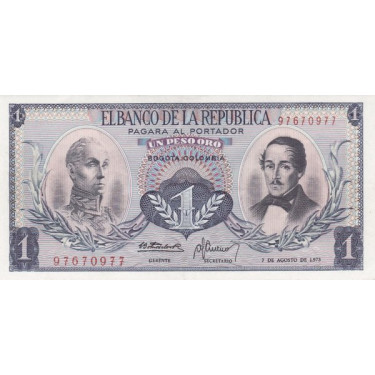 Colombia 1 Peso 1973 P-404e