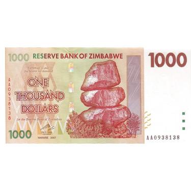 Zimbabwe 1000 Dollars 2007...