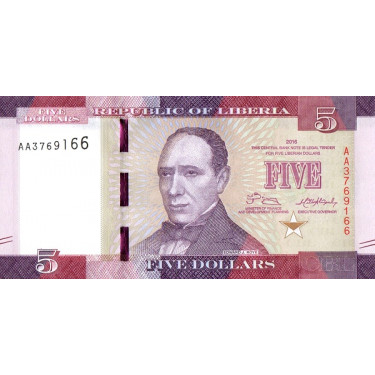 Liberia 5 Dollars 2016 P-31a