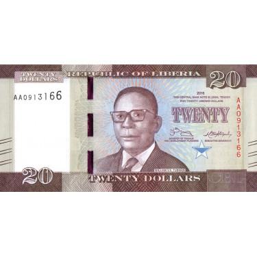 Liberia 20 Dollars 2016 P-33a