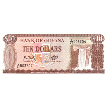 Guyana 10 Dollars 1992 P-23f