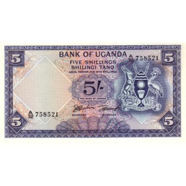 Uganda 5 Shillings 1966 P-1