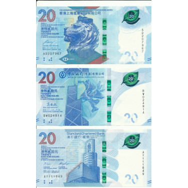 Hong Kong 3 x 20 Dollars...