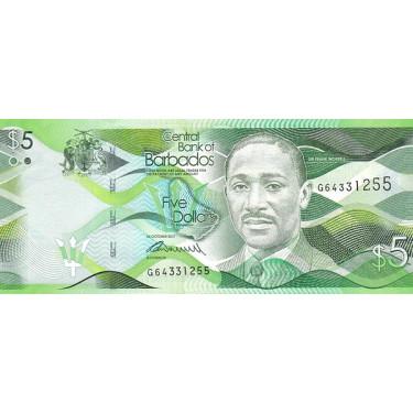 Barbados 5 Dollars 2017 P-74b