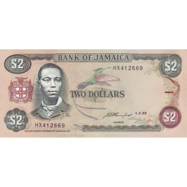 Jamaica 2 dollars 1993 P-69e